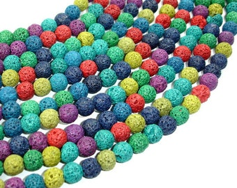 Lava Beads, Multicolored, Round, 8mm (8.5mm), 15.5 Inch, Full strand, Approx 50 beads, Hole 1 mm (300054032)