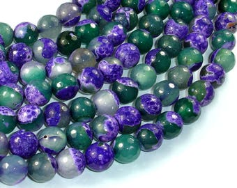 Agate Beads, Purple & Green, 10mm Faceted Round Beads, 15 Inch, Full strand, Approx 37 beads, Hole 1mm (122025304)