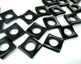 Matte Black Stone Beads, 23 x 23 mm Wavy Square Donut Ring Beads, 16 Inch, Full strand, Approx 13 beads, Hole 1.2 mm (146125001)