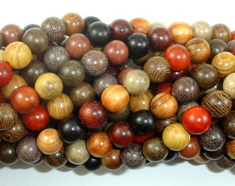 Mixed Wood Beads, 8mm(8.3mm) Round Beads, 34 Inch, Full strand, Approx 108 Beads, Mala Beads (011748002)