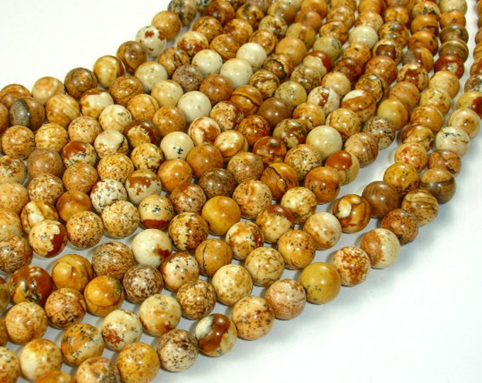 Picture Jasper Beads Round, 8mm (8.5 mm), 15.5 Inch, Full strand, Approx 46 beads, Hole 1 mm, A quality (345054002)