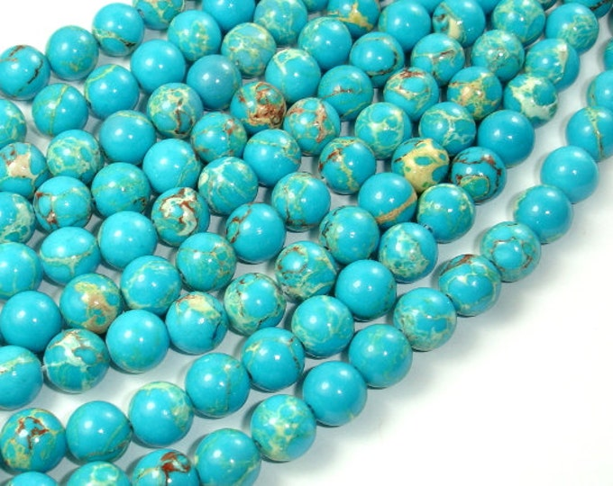 Blue Impression Jasper, 8mm(8.3mm) Round Beads, 15 Inch, Full strand, Approx 48 beads, Hole 1 mm (281054030)
