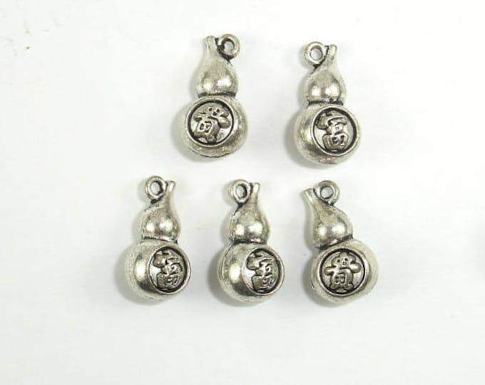 Gourd Charms, Lantern Charms, Zinc Alloy, Antique Silver Tone, 7x13 mm, 20 pcs, Hole 1mm (006873083)