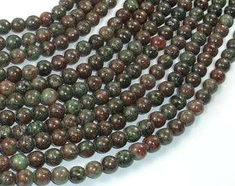 Red Green Garnet Beads, Kashgar Garnet, 6mm Round Beads, 16 Inch, Full strand, Approx 68 beads, Hole 0.8mm (245054003)