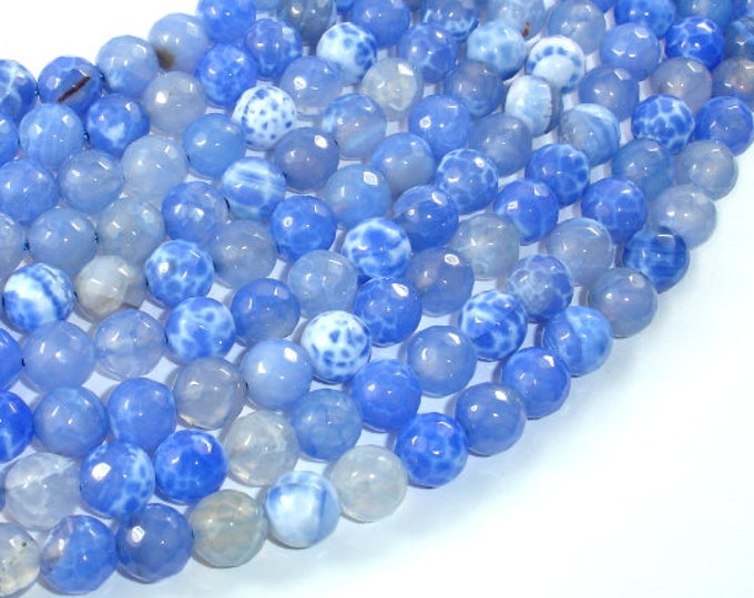 Fire Agate Beads, Blue & White, 8mm(8.3mm) Faceted Round Beads, 15 Inch, Full strand, Approx 47 beads, Hole 1mm (122025309)