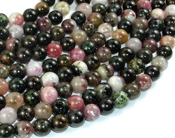 Tourmaline Beads, 8mm Round Beads, 16 Inch, Full strand, Approx 50 beads, Hole 1 mm (427054011)