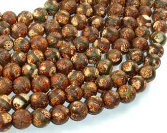 Crackle Tibetan Agate, 10mm Round Beads, 14.5 Inch, Full strand, Approx 38 beads, Hole 1.2mm (122054276)