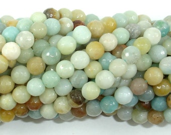Amazonite Beads, 6mm (5.8mm) Faceted Round Beads, 15 Inch, Full strand, Approx 66 beads, Full strand, Hole 1mm (111025006)