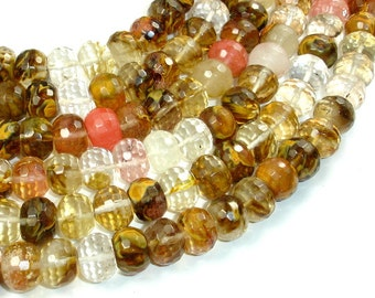 Fire Cherry Quartz, 10mm x 14mm Faceted Rondelle Beads, 16 Inch, Full strand, Approx 40 beads, Hole 1 mm (422024001)