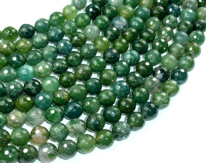 Moss Agate Beads, 8mm (8.3 mm) Faceted Round Beads, 15 Inch, Full strand, Approx 46 beads, Hole 1 mm, A quality (323025005)