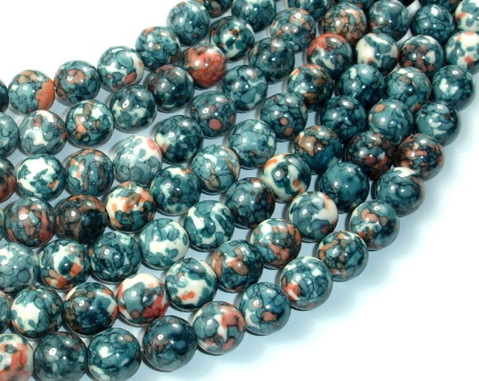 Rain Flower Stone Beads, Gray, 10mm (10.6 mm) Round Beads, 15.5 Inch, Full strand, Approx 38 beads, Hole 1 mm, A quality (377054021)