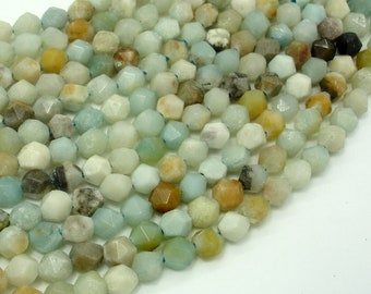 Amazonite Beads, 6mm Star Cut Faceted Round Beads, 15.5 Inch, Full strand, Approx 62 beads, Full strand, Hole 1mm (111186001)