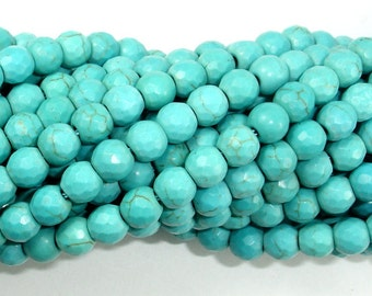 Turquoise Howlite, 6mm (5.9 mm) Faceted Round Beads, 14.5 Inch, Full strand, Approx 67 beads, Hole 1.2 mm (213025001)