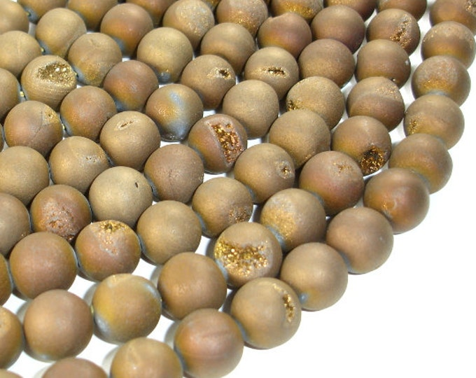 Druzy Agate Beads, Geode Beads, Matte Golden Brown, Approx 12mm, 15.5 Inch, Full strand, Approx 32 beads, Hole 1 mm (122054155)