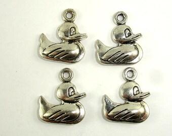 Duck Charms, Zinc Alloy, Antique Silver Tone, 16x19mm, 10 pcs, Hole 1.9mm (006873046)