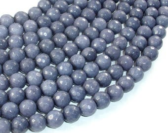 Jade Beads, Gray, Faceted Round, 8mm, 15 Inch, Full strand, Approx 48 beads, Hole 1 mm, A quality (211025009)