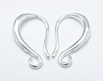 10pcs Earing Hooks, Fishhook, Silver Plated, 9x15mm, Hole 1.5mm (006856011)