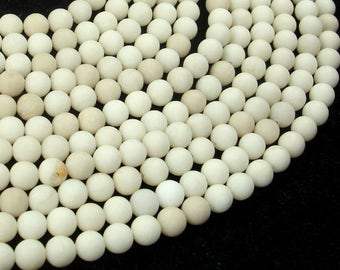 Matte White Fossil Jasper Beads, 6mm (6.3mm) Round Beads, 15.5 Inch, Full strand, Approx 63 beads, Hole 0.8mm (220054012)