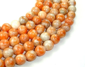 Orange Calcite Beads, Round, 10 mm, 16 Inch, Full strand, Approx 41 beads, Hole 1 mm (335054001)