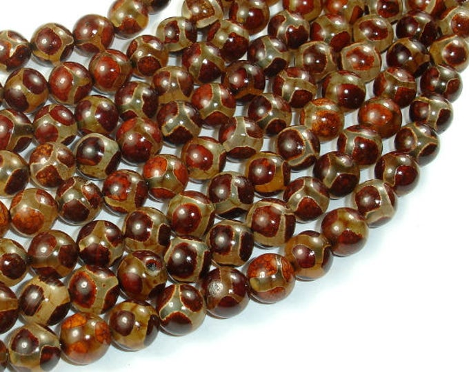 Tibetan Agate Beads, 8mm Round Beads, 15 Inch, Full strand, Approx 47 beads, Hole 1 mm (122054129)