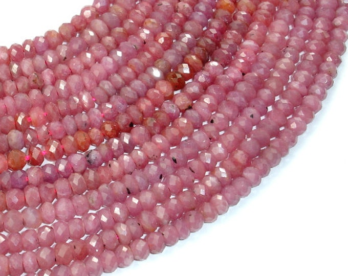 Genuine Ruby, Approx (3-4) mm x 5 mm Faceted Rondelle Beads, 16 Inch, Full strand, Approx 118 beads, Hole 0.8 mm (392024011)