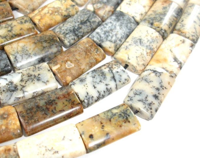 Dendritic Opal Beads, 13x20mm Flat Tube Beads, 16 Inch, Full strand, Approx 20 beads, Hole 1 mm (441035001)