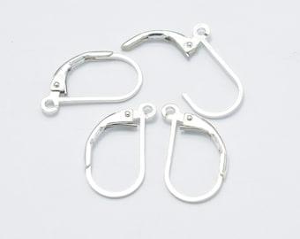 4pcs 925 Sterling Silver Leverback Earwires, Earing Hooks, 10x16mm, Hole 1.4mm (007908007)