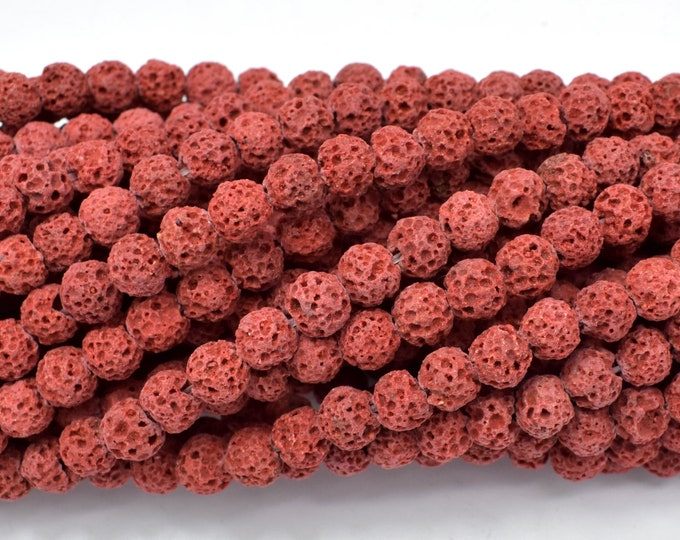 Red Lava Beads, 6mm (6.5mm) Round Beads, 15.5 Inch, Full strand, Approx 64 beads, Hole 1mm (300054004)