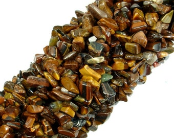 Tiger Eye, 4-9 mm Chips Beads, 34 Inch, Long full strand, Hole 0.8 mm (426005001)