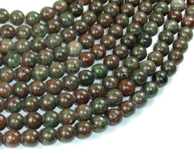 Red Green Garnet Beads, Kashgar Garnet, 8mm(8.5mm) Round Beads, 15.5 Inch, Full strand, Approx 48 beads, Hole 1mm (245054004)