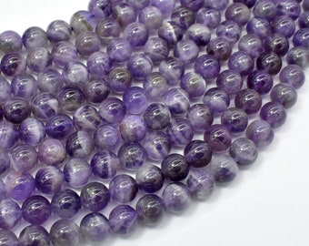 Amethyst, Dog Tooth Amethyst, 8mm (8.3mm) Round Beads, 15.5 Inch, Full strand, Approx 48 beads, Hole 1mm (115054052)