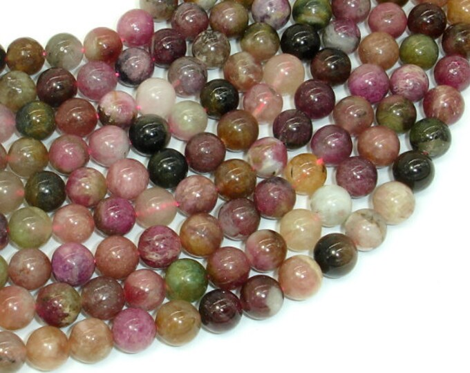 Tourmaline Beads, 8mm (8.2mm) Round Beads, 15.5 Inch, Full strand, Approx 49 beads, Hole 1mm, A- quality (427054018)