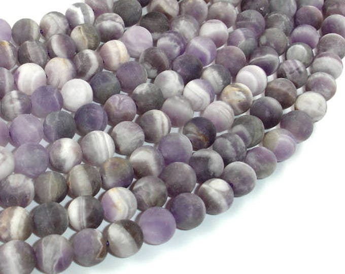 Matte Amethyst Beads, Matte Dog Tooth Amethyst, Round, 8mm (8.3mm), 15.5 Inch, Full strand, Approx 48 beads, Hole 1mm (115054048)