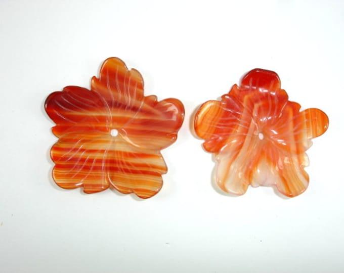 Carnelian Pendant, Carved Flower Pendant, Approx 42 x 42mm, 1 piece, Centre Hole 2 mm (PNDT8)