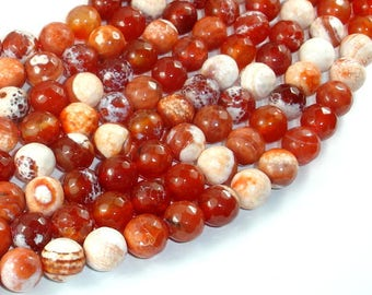 Fire Agate Beads, Orange & White, 10mm Faceted Round, 14.5 Inch, Full strand, Approx 37 beads, Hole 1mm (122025313)