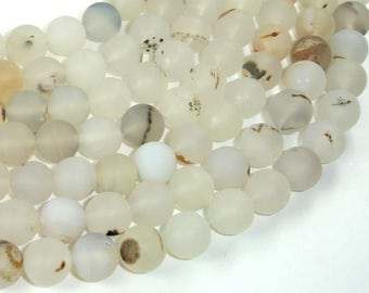 Frosted Matte Agate-White, Gray, 10mm Round Beads, 15 Inch, Full strand, Approx 37 beads, Hole 1 mm (122054231)