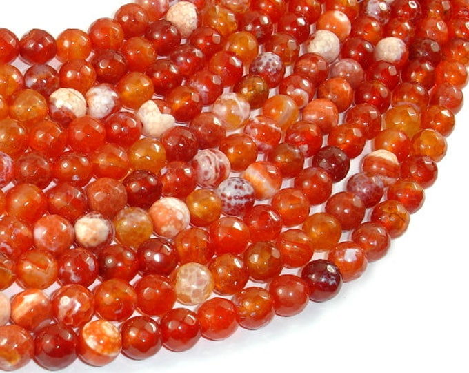 Fire Agate Beads, Orange & White, 8mm(7.8mm) Faceted Round, 14.5 Inch, Full strand, Approx 47 beads, Hole 1 mm (122025312)