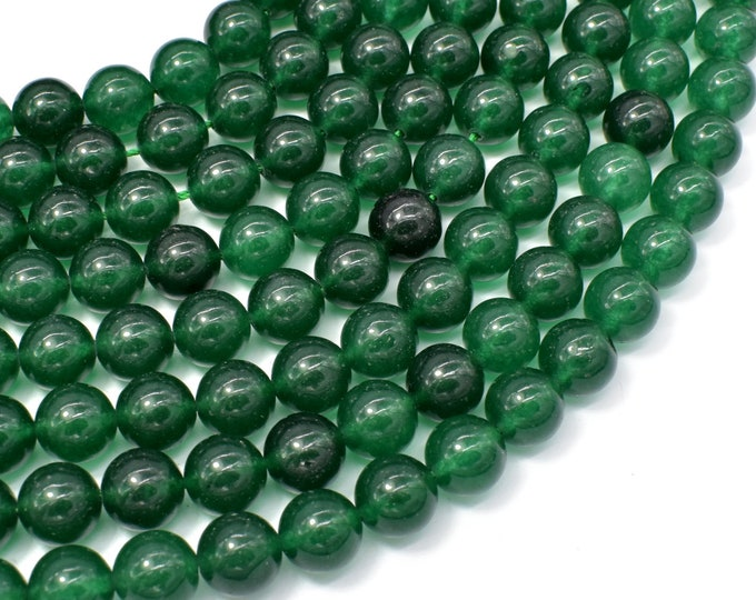 Jade Beads-Emerald, 10mm Round Beads, 15 Inch, Full strand, Approx 38 beads, Hole 1mm (211054195)