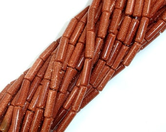 Goldstone Beads, 4mm x 14mm Tube Beads, 16 Inch, Full strand, Approx 30 beads, Hole 1 mm, A quality (237065003)