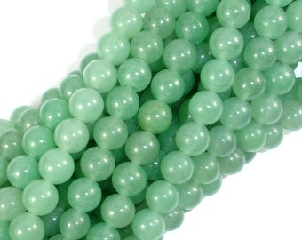 Green Aventurine Beads, 8mm(8.5mm) Round Beads, 15 Inch, Full strand, Approx 46 beads, Hole 1 mm (249054003)