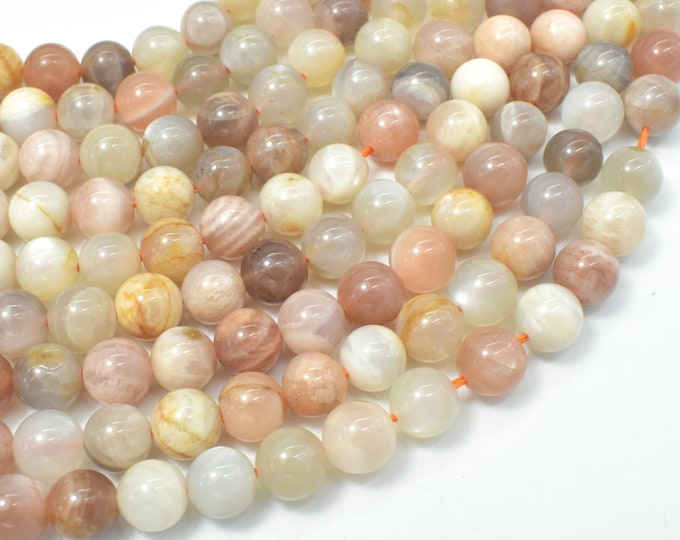 Mixed Moonstone Sunstone-Peach, White, Gray, 8mm (8.3mm) Round Beads, 15.5 Inch, Full strand, Approx 47-50 beads, Hole 1mm (321054034)