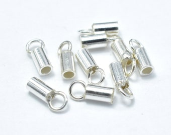 20pcs 925 Sterling Silver Cord End Cap, 6.5x2.2mm, 1.5mm inside diameter  (007906002)