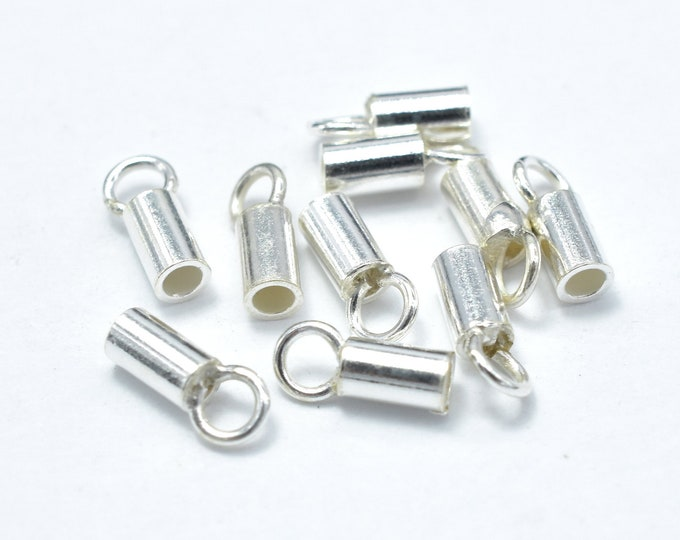 20pcs 925 Sterling Silver Cord End Cap, 6.5x2.2mm, 1.5mm inside diameter  (007906002)
