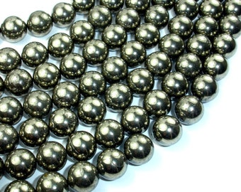 Pyrite Beads, 12mm Round Beads, 15.5 Inch, Full strand, Approx 33 beads, Hole 1 mm, A- quality (361054010)