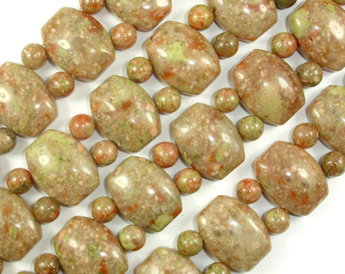 Chinese Unakite Beads, 15x19mm Flat Barrel Double Hole Beads with 6mm Round Beads, 14 Inch, Full strand, Hole 1.5mm, A quality (195078001)