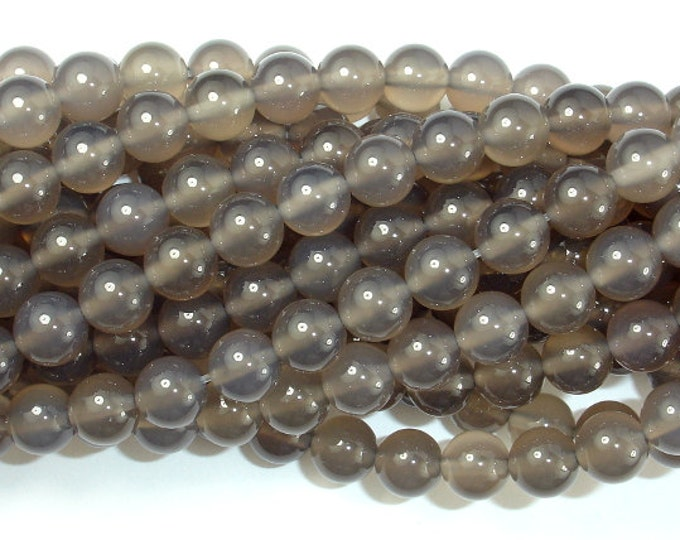 Gray Agate Beads, 8mm (8.3mm) Round Beads, 15 Inch, Full strand, Approx 48 beads, Hole 1 mm, A quality (241054003)