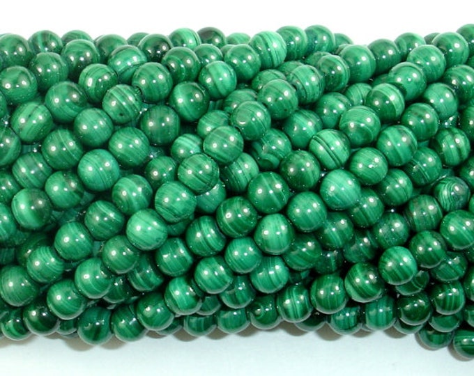 Natural Malachite Beads, 5mm(5.3mm) Round Beads, 15.5 Inch, Full strand, Approx 79-81 beads, Hole 0.8mm, A+ quality (312054013)