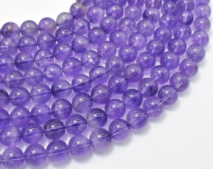 Amethyst, Approx 8mm (8.3mm) Round Beads, 15.5 Inch, Full strand, Approx 48 beads, Hole 1mm (115054003)