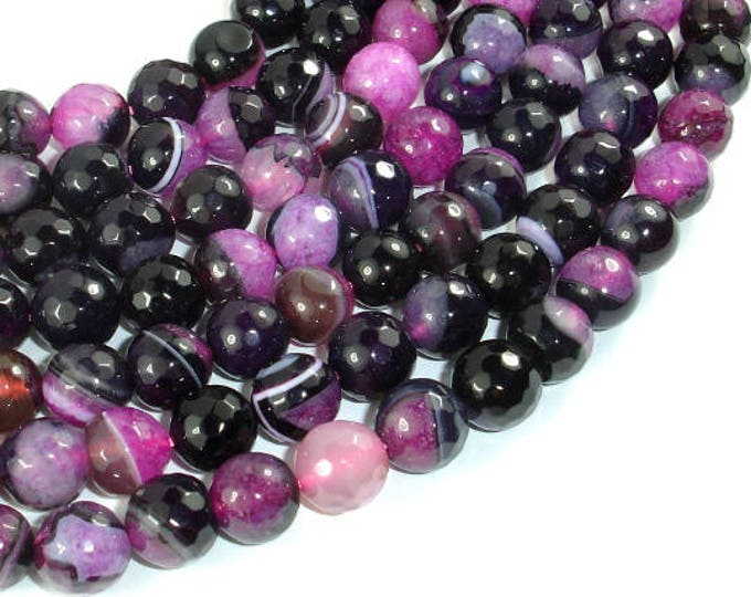 Agate Beads, Pink & Black, 10mm Faceted Round Beads, 15 Inch, Full strand, Approx 38 beads, Hole 1mm (122025318)