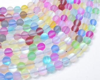 Matte Mystic Aura Quartz-Multi, 6mm (6.5mm) Round Beads, 15 Inch, Full strand, Approx 60 beads, Hole 1mm (313054007)